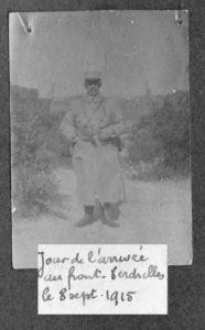 Raoul Ourta arrive sur le front sept 1915