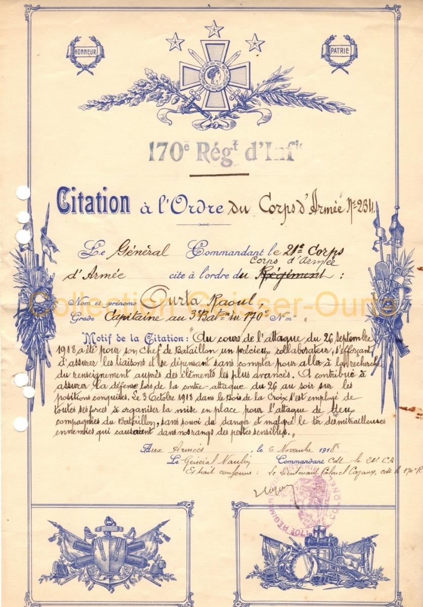 Citation du 6 novembre 1918